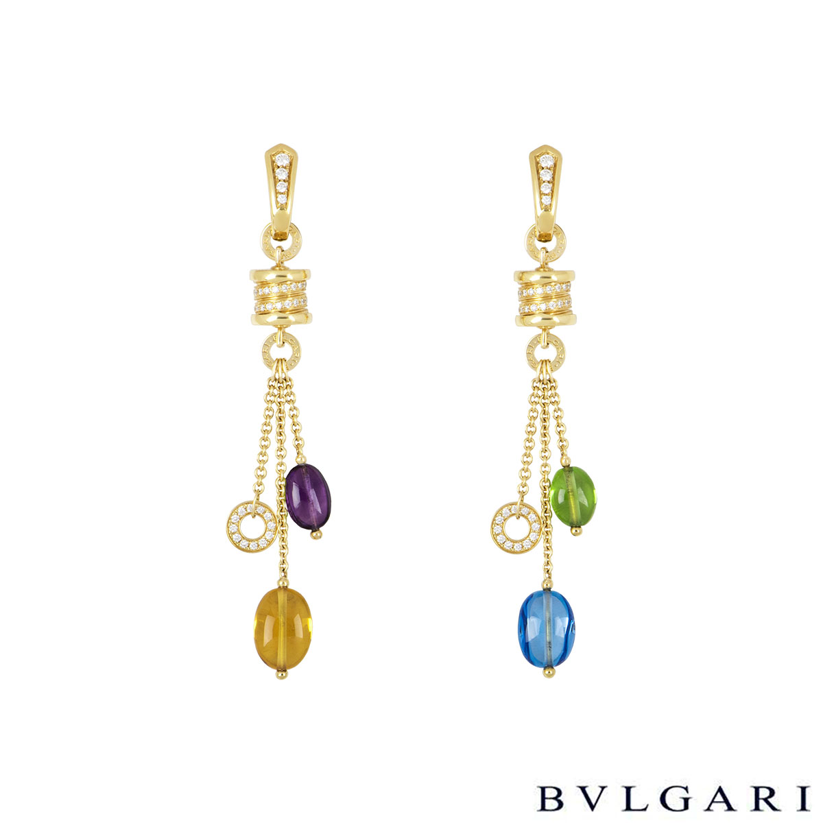 Bvlgari Yellow Gold Multi-Gemstone B.Zero1 Earrings